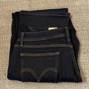 Levi's 529 curvy straight leg dark wash jeans